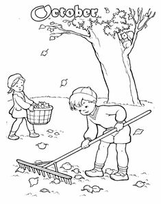 439 best make calendars make the days go by images calendar March 2017 Calendar Printable a boy and girl cleaning up fall leaves coloring page