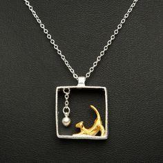 Sale 26% (7.53$) - 925 Sterling Silver Necklaces Rectangle Cat Pendants Necklaces