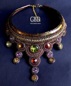 Guzel Bakeeva Necklace with oho beads and swarovski crystals
