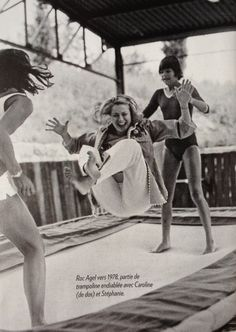 Princess Grace doing trampolining with her daughters, Caroline and Stephanie