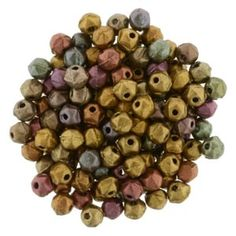 English Cut - 3mm, Matte Bronze Iris, 50 Bead Strand: Round in overall shape then shaped with diamond-shaped facets this particular style of pressed g