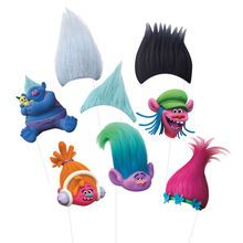 Trolls Photo Booth Props, Assorted 8pc