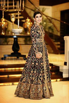Indian Women Suits - Navy Blue Full Length Anarkali Jacket with Gold Embroidery | WedMeGood #indianbride #indianwedding #gold #bridal #anarkali #embroidered #panneled #womensuits