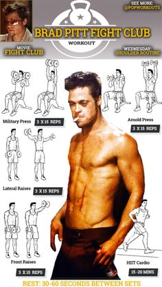 Brad Pitt Workout Chart Fight Club Chest Routine is part of Fight club workout - Fitness Workouts, Pop Workouts, Gym Workout Tips, Biceps Workout, Fitness Diet, Workout Routines, Workout Quotes, Celebrity Fitness, Celebrity Workout