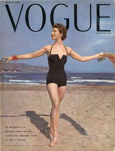 Maillot de bain de Lanvin-Castillo en couverture de Vogue de juillet 1953, photo Randall