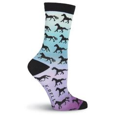 These socks feature the silhouette of black horses on a sunset background of purple to yellow. Sunset Background, Black Horses, Horse Stalls, Socks, Silhouette, Purple, Fashion, Moda, Fashion Styles