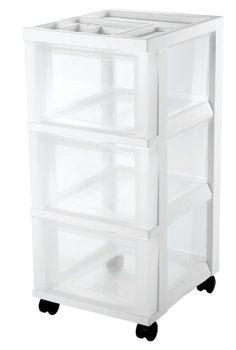 Photo On IRIS Drawer Storage Cart with Organizer Top White IRIS https