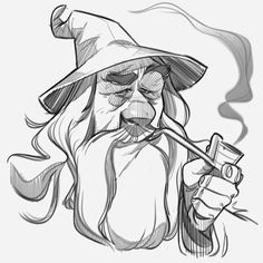 ~Paulo Cohen - Gandalf the Grey~ Cartoon Sketches, Cartoon Styles, Cartoon Art, Drawing Sketches, Art Drawings, Wizard Drawings, Cartoon Characters Sketch, Drawing Faces, Character Sketches