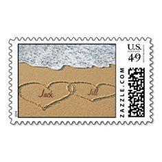 Shop Love Heart Beach Wedding Invitation Stamp created by ForBetterOrWorse. Personalize it with photos & text or purchase as is! Beach Wedding Invitations, Save The Date Invitations, Save The Date Cards, Wedding Stationery, Invites, Wedding Favors, Custom Postage Stamps, Wedding Postage Stamps, Wedding Stamps