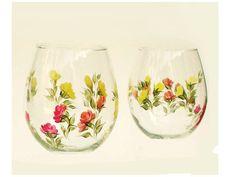 Hand-Painted Stemless Wine Glasses  Multi by HandPaintedPetals