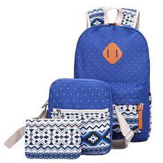 Cute Canvas Printing Backpack Set