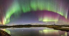 CORTINAS COLORIDAS - Esta imagem de Aurora Boreal captada por Carlos Gauna próximo à lagoa do glacier Jökulsárlón, no sul da Islândia, foi gerada inicialmente por uma explosão solar de grandes proporções em 15 de março de 2015. A radiação atingiu a atmosfera terrestre provocando o espetáculo de cores registrado em 17 de março e divulgado agora pela Nasa