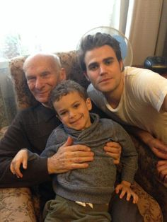 Paul Wesley with his nephew and his grandfather