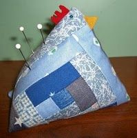 Funky chicken pin cushion - Once you start making these, you can't stop. For variety use different quilt squares and different materials for the comb and tail feathers.