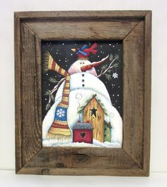Winter Snowman with Red Cardinal and Birdhouses, Framed in Reclaimed Wood, Snowman, Cardinal, Bird Houses, Hand Painted, Tole Painted by barbsheartstrokes on Etsy