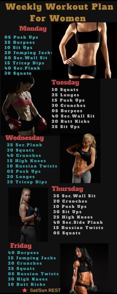 Weekly workout plan for women | Posted By: CustomWeightLossProgram.com
