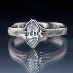 Marquise White Sapphire Semi-Bezel Engagement Ring | Nodeform