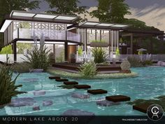 Modern Lake Abode 2.0 by Cross Architecture from TSR for The Sims 4
