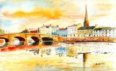 Original watercolor AYR harbour Ayrshire by Scottish artist David Tyrrell   | eBay