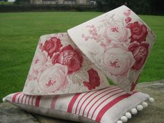 French country decor perfection - mix stripes and big florals. Shades in Kate Forman Roses fabric, cushion in Red Ticking