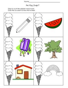 Provides students practice with syllable words. They will look at the picture, clap how many syllables are in the word, and color the corresponding number of scoops on the ice cream cone. Great for extra practice as a literacy center. Action Research, Phonological Awareness, Speech Pathology, Syllable, Word Work, Literacy Centers, Phonics, Kids Learning, Grammar