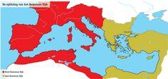 ONTWIKKELING Door de volksverhuizingen kwam er een splitsing van het romeinse rijk. Er kwam een Oost Romeinse rijk en een West romeinse rijk.