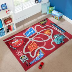 Disney Cars Rugs will bring joy and excitement to any room. Made with a 100% Nylon pile which is soft to touch, durable, 100% washable with an anti slip latex backing.