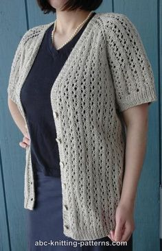 ABC Knitting Patterns - Top-Down Raglan Summer Lace Cardigan small through 3X