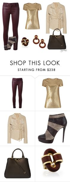 """Gold & Sherling"" by kazemkina ❤ liked on Polyvore featuring Brockenbow, Michael Kors, Donna Karan, Christian Louboutin, Calvin Klein and David Webb"