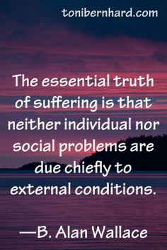 Buddhist scholar B. Alan Wallace. Suffering comes from our response to external conditions…not chiefly from the conditions themselves.