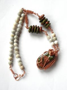 Unakite and Jasper Necklace Wire Wrapped in Copper.