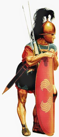 Late republican legionary armed with oval scutum, crude Montefortino helmet, mail shirt, two pila and sword