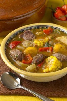 Sancocho- typical 'comfort' food in Puerto Rico Sancocho. It is a wonderful thick stew here they are using beef and oft times it has ad rice in it as well. A more traditional one will have calabaza (pumpkin) in place of butternut squash Puerto Rican Cuisine, Puerto Rican Dishes, Puerto Rican Recipes, Sancocho Recipe Puerto Rican, Sancocho Dominicano Recipe, Mexican Food Recipes, Beef Recipes, Soup Recipes, Snacks