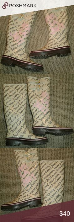 """Juicy Couture rain boots 16"""" shaft Juicy Couture rain boots. Only worn a handful of times, these boots are in amazing shape. So cute and make any outfit pop! Juicy Couture Shoes Winter & Rain Boots"""