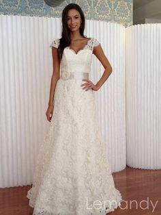 elegant sweetheart cap sleeves A line lace by Lemandyweddingdress, $278.00