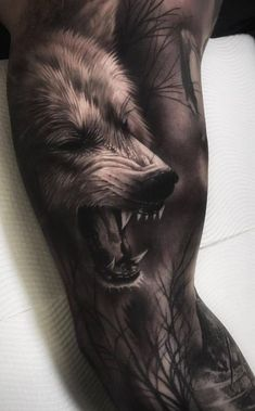 Wolf Tattoos are chosen by exceptionally strong individuals, who are always prepared to defend their beliefs. Best Wolf Tattoo Ideas for Men and Women. Wolf Sleeve, Wolf Tattoo Sleeve, Tattoo Sleeve Designs, Tattoo Designs Men, Sleeve Tattoos, Wolf Tattoos Men, Viking Tattoos, Tattoos For Guys, Animal Tattoos For Men