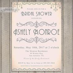 Blush Pink and Gray Bridal Shower Invitations Digital Printable Invite Art Deco Elegant Vintage Style Bridal Brunch Luncheon Tea No.735    This