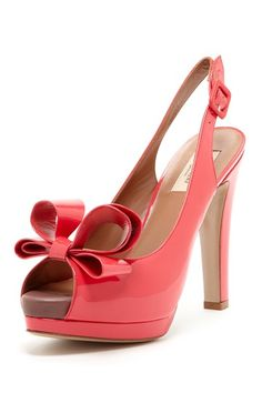 Slingback Patent Leather Bow Pump