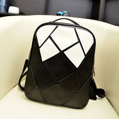 Cool! Black White Irregular Contrast Color Backpack just $34.9 from Atwish.com! I can't wait to get it!