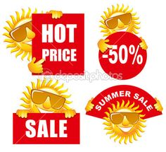 Sale tags with a sun — Stock Illustration #16787031