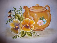 pintura em tecido Embroidery Patterns, Embroidery Applique, Country Paintings, Fabric Painting, Country Art, Pretty Pictures, Folk Art, Tea Pots, Art Projects