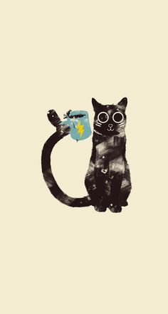↑↑TAP AND GET THE FREE APP! Animals Fun Cat Cup Funny Cute Cool Art Drawing Beige HD iPhone 6 Wallpaper