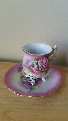 Victoria's Garden Lowell MA Tea Cup Gold Trim Heavy Porcelain with saucer flower