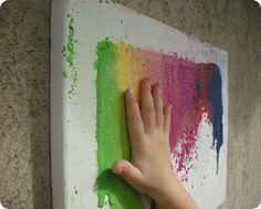 grattuggiare i colori a cera.... per avere un quadro da toccare