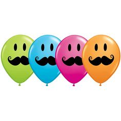 It's moustache mania!ᅠ Combine the 11 inch latex Smiley Face Moustache balloons with our matching mylars for a marvelous moustache bouquet.ᅠ Each balloon features a black sheriff 'stache and big, black, perky peepers and comes in green, blue, pink and ora Moustache Party, Balloons Galore, Little Man Party, Sleepover Birthday Parties, Party Supply Store, Carnival Themes, Latex Balloons, Craft Party, Party Time
