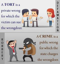 Difference between tort and criminal law