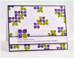 Card by Debbie Olson using PTI stamps. Love the combo of purple and green!