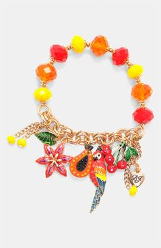Betsey Johnson 'Rio' Parrot & Fruit Stretch Bracelet available at Nordstrom