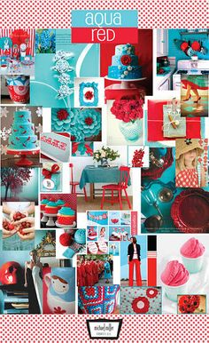Aqua and Red wedding inspiration including cake