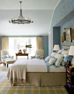 Traditional Bedroom by Elissa Cullman and John B. Murray Architect in CT Braun blue/white linens, beige box pleat  dust ruffle